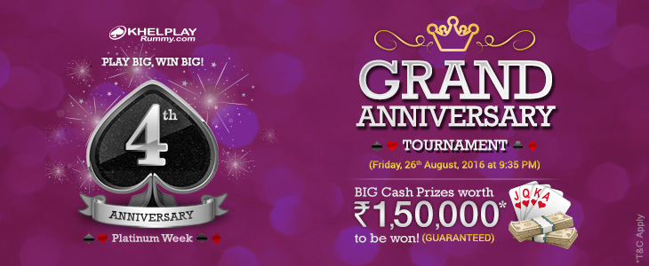Grand Anniversary Tournament @ KhelPlayRummy